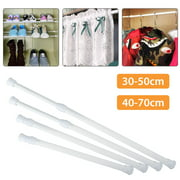 Tension Rods 11.8 to 27.6 Inch, 4/2/1 Pcs Spring Tension Curtain Rod, Adjustable Spring Cupboard Bars Tension Curtain Rod Shower Rod for DIY Projects Cupboard Wardrobe Window, White