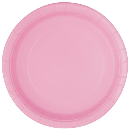 Paper Plates, 7 in, Light Pink, 20ct - Pink Plates