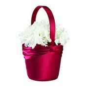 Lillian Rosesatin Sash Flower Basket-red