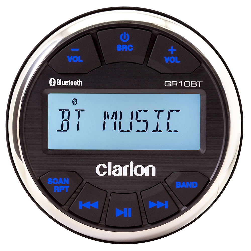 Clarion GR10BT Marine USB/MP3/WMA Gauge-Hole Receiver with Built-In Bluetooth