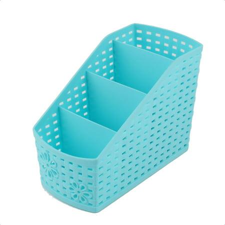 Unique Bargains Home Office Blue Plastic Desktop Table Sundries 4 Slots Storage Drawer Divider Box ()