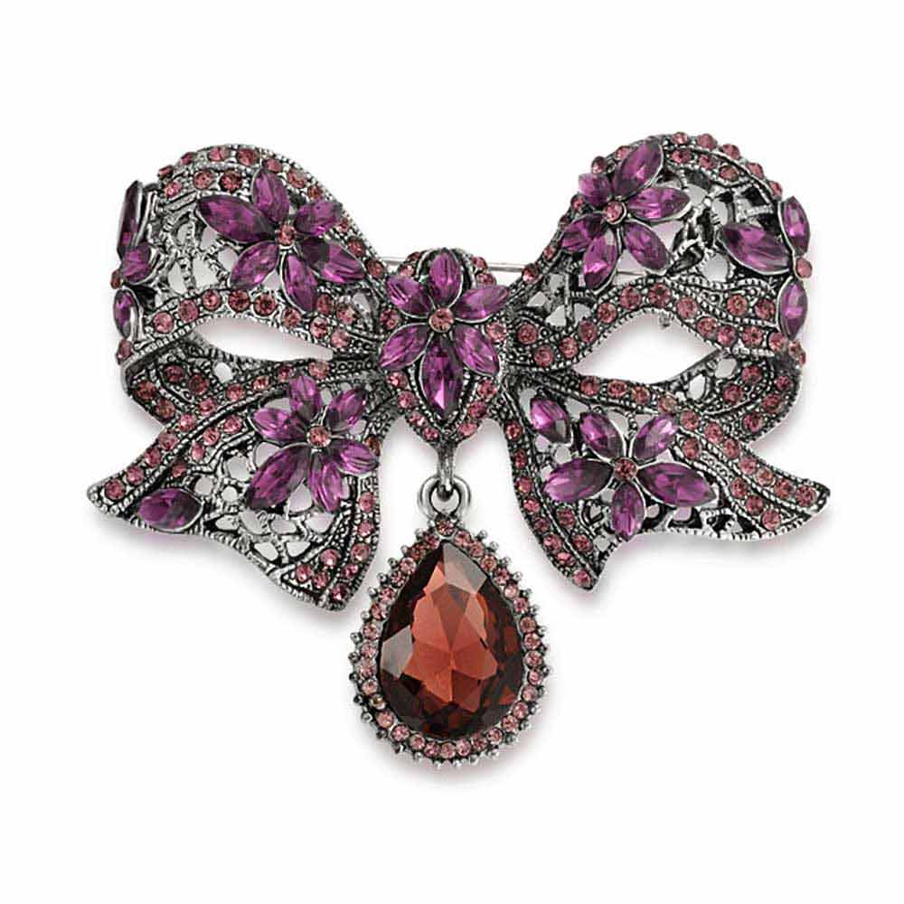 Bling Jewelry Purple Crystal Bow Flower Pin Silver Plated