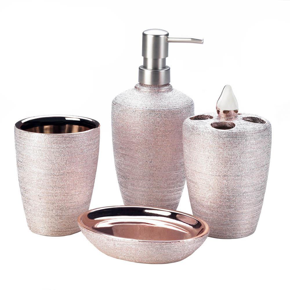 Accent Plus Golden Rose Shimmer Bath Accessory Set by Accent Plus