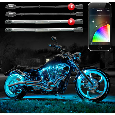 XKchrome App Control 16 Million Color, 10 Pod, 8 Strip Motorcycle LED Accent Advanced - Pod Strips