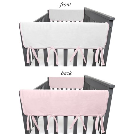"""American Baby Company 2 Pack Heavenly Soft Chenille Reversible Crib Rail Cover for Side Rails, Pink, Wide for Rails Measuring up to 18"""" Around"""
