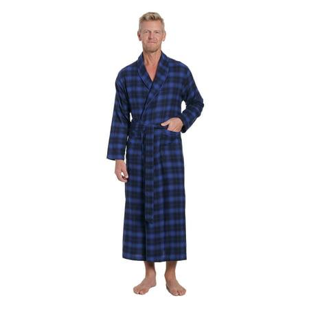 Twin Boat Men's 100% Cotton Flannel Long Robe
