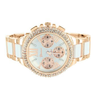 Rose Gold Tone Watch Womens White Acetate Links Parkers 2 Tone Dial Lab Created Cubic Zirconias
