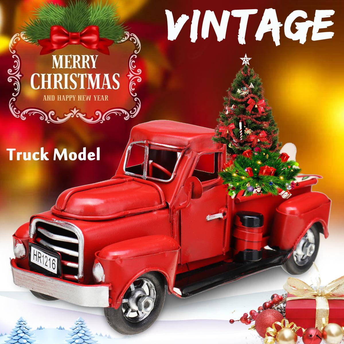 Red Truck Christmas Decor Vintage Christmas Truck For Christmas Decorations Table Top Decor Holiday Christmas Supplies Walmart Com Walmart Com