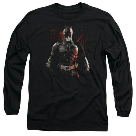 The Dark Knight Rises Batman Battleground Mens Long Sleeve Shirt (Battleground Jersey)