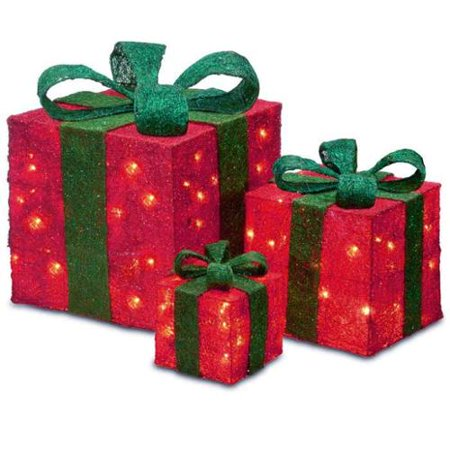 Lighted Christmas Boxes Decoration.Set Of 3 Sparkling Red Sisal Gift Boxes Lighted Christmas Yard Art Decorations