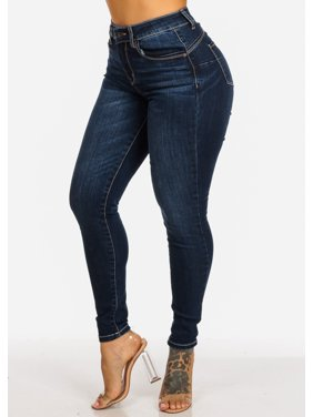 Womens Juniors High Rise Butt Lifting 1 Button Dark Wash Skinny Jeans 10796R