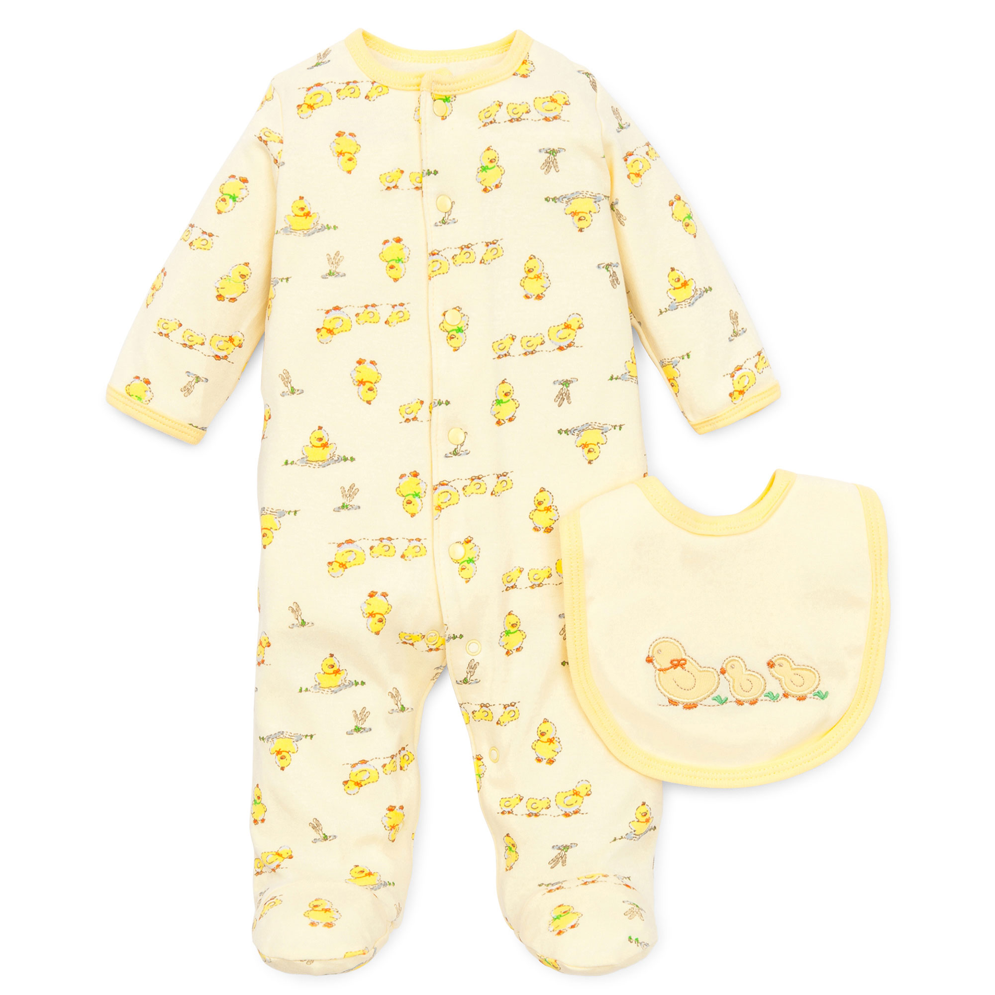 Little Me Unisex Yellow Duck Snap Front Footie Pajamas For Baby Boys or Baby Girls with Bib Sleep N Play One Piece Romper Coverall Infant Footed Sleeper; Pijamas Para Bebes -Yellow Ducks -  Newborn