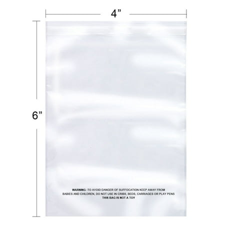 The Elixir Packaging 100 Count 4 x 6 Suffocation Warning Clear Reclosable Poly Bag, Meets USDA FDA Standards , Various Size