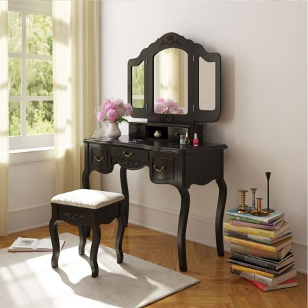 Belleze Vanity Dressing Table Set Makeup Desk Stool And Mirror Large Capacit