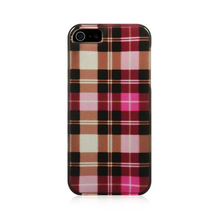 Insten Plaid Hard Snap On Back Protective Case Cover For iPhone 5 / 5S / SE - Hot Pink