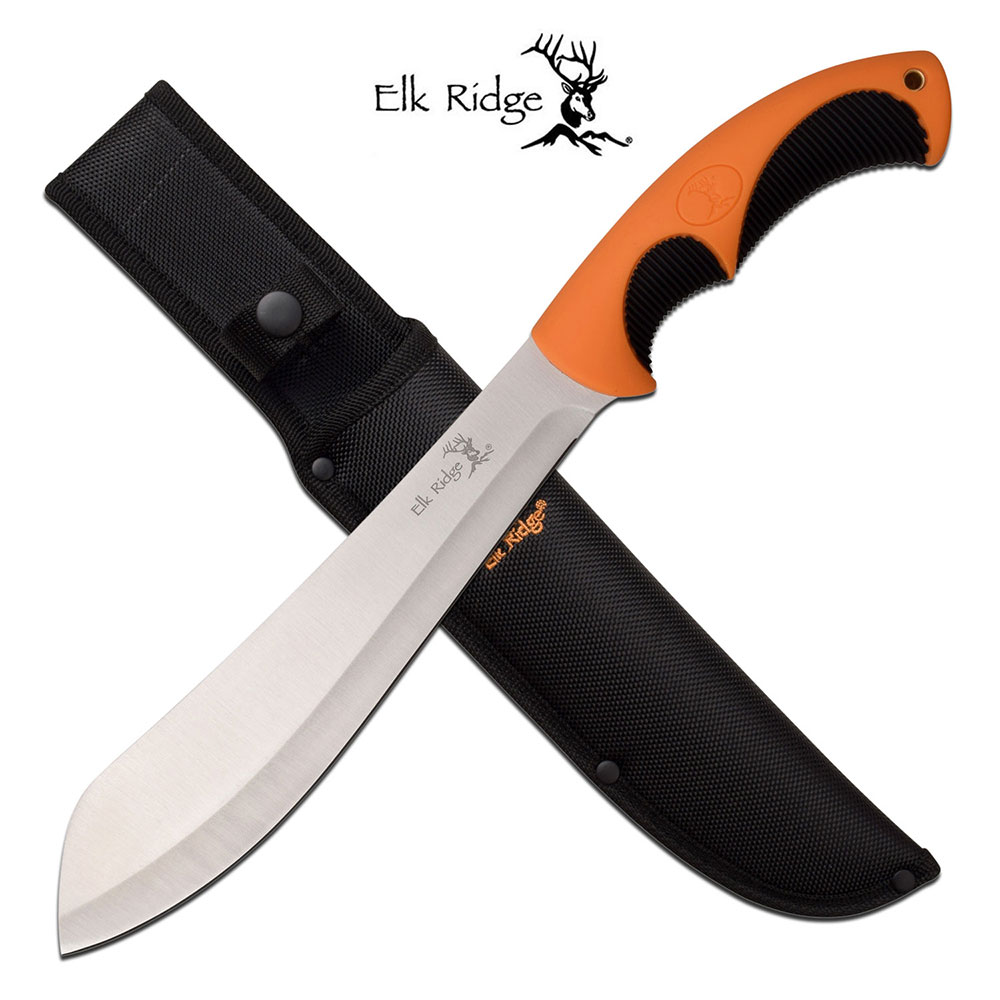 "Elk Ridge 14"" Carbon Steel Fixed Blade Rubber Grip Machete by Master Cutlery"