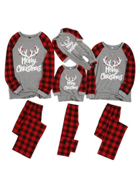 Fymall Christmas Family Matching Pajamas Plaid Elk Printed Pullover Long Pants Sleepwear Suit For Toddler, Kids, Mom, Dad