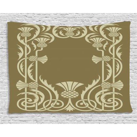 Art Nouveau Tapestry, Floral Border with Tropical Pineapple Fruits Leaves Retro Style Swirls, Wall Hanging for Bedroom Living Room Dorm Decor, 60W X 40L Inches, Sepia Sage Green, by Ambesonne