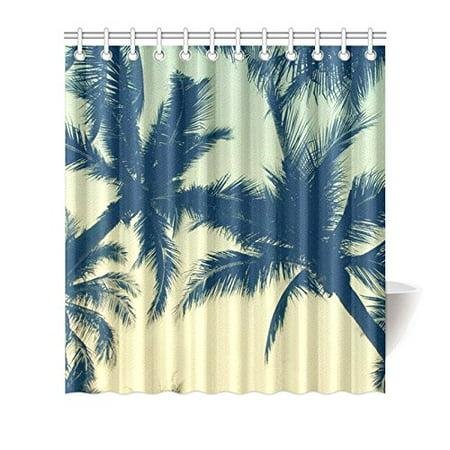MKHERT Palm Trees Shower Curtain Waterproof Bath Decor 66x72 Inch