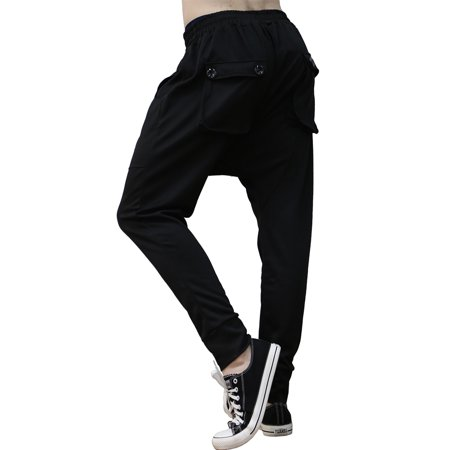 Men Elastic Waist Front Pockets Button Decor Casual Harem Pants W32/34 - image 1 of 7