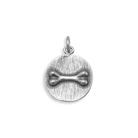 - Round Dog Bone Charm Antiqued Sterling Silver