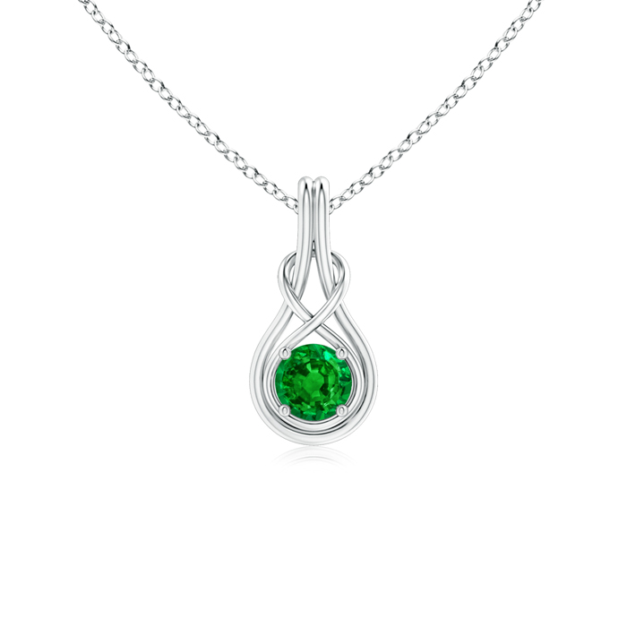 May Birthstone Pendant Necklaces Round Emerald Infinity Knot Pendant Necklace in 950 Platinum (5mm Emerald)... by Angara.com