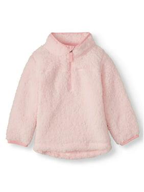 Wonder Nation Toddler Girl Mock Neck Quarter Zip Boucle Lined Sherpa Jacket