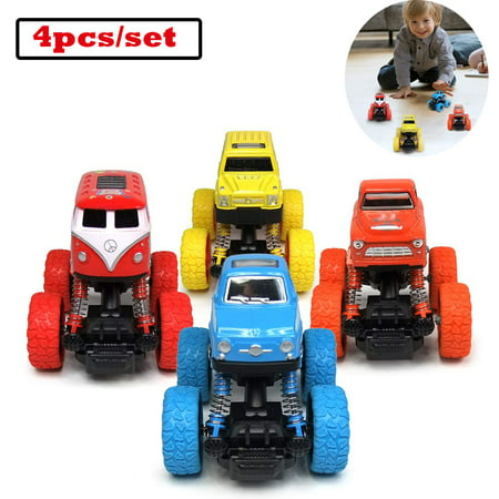 Car Toys For 2 Year Old (WisToyz Pull Back Trucks Friction Powered Cars for Kids, Toddler Toys Inertia Car Toys for 2 3 4 5+ Year Old Boys Girls (4)