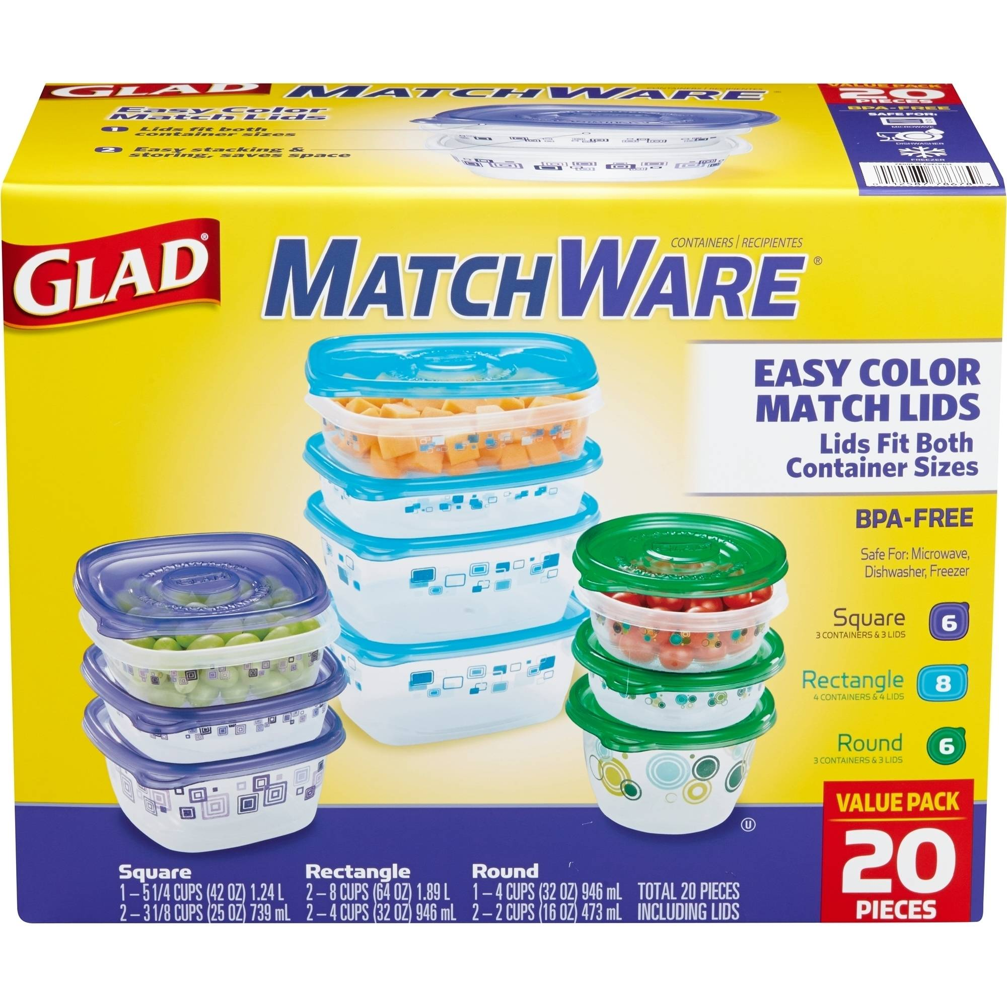 Glad MatchWare Food Storage Containers, 20 count, BPA Free