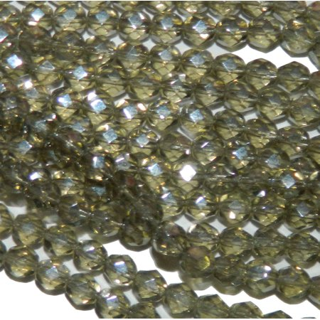24 Firepolish Faceted Czech Glass, Loose Beads, 6mm Luster Black Diamond