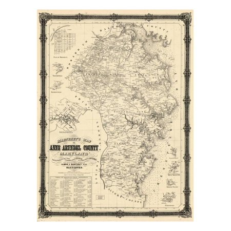 1860, Anne Arundel County Wall Map, Maryland, United States Print Wall Art - Map Europe 1860