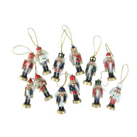 "12-Piece Set of Red and Blue Mini Decorative Christmas Nutcracker Ornaments 3.25"""