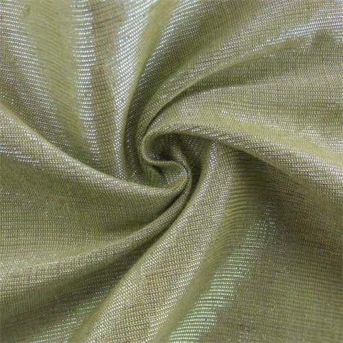Lime Green/Metallic Teal Tiara Linen Lame Drapery Fabric, Fabric By the Yard