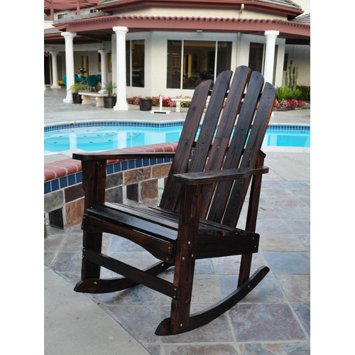Marina Porch Rocker, Cedar Wood - Burnt Brown