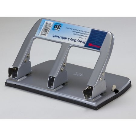 (Officemate Medium Heavy Duty Three-Hole Punch, Ergonomic Handle, 30 Sheet Capacity, Silver (90086))