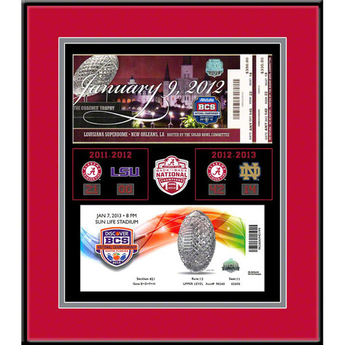 Alabama Crimson Tide Back To Back National Champions Tickets To History Framed Print Alabama Crimson Tide TFRCALAB2B