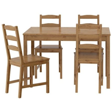 Ikea Table and 4 Chairs, Antique Stain, Solid Pine Wood, 22210.555.210 Antique Pine Wood