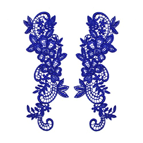 "Royal Blue 2.75""x8"" Pair of Floral Venice Lace Applique Embroidered Bridal Guipure Patch Motif (2 Pieces)"