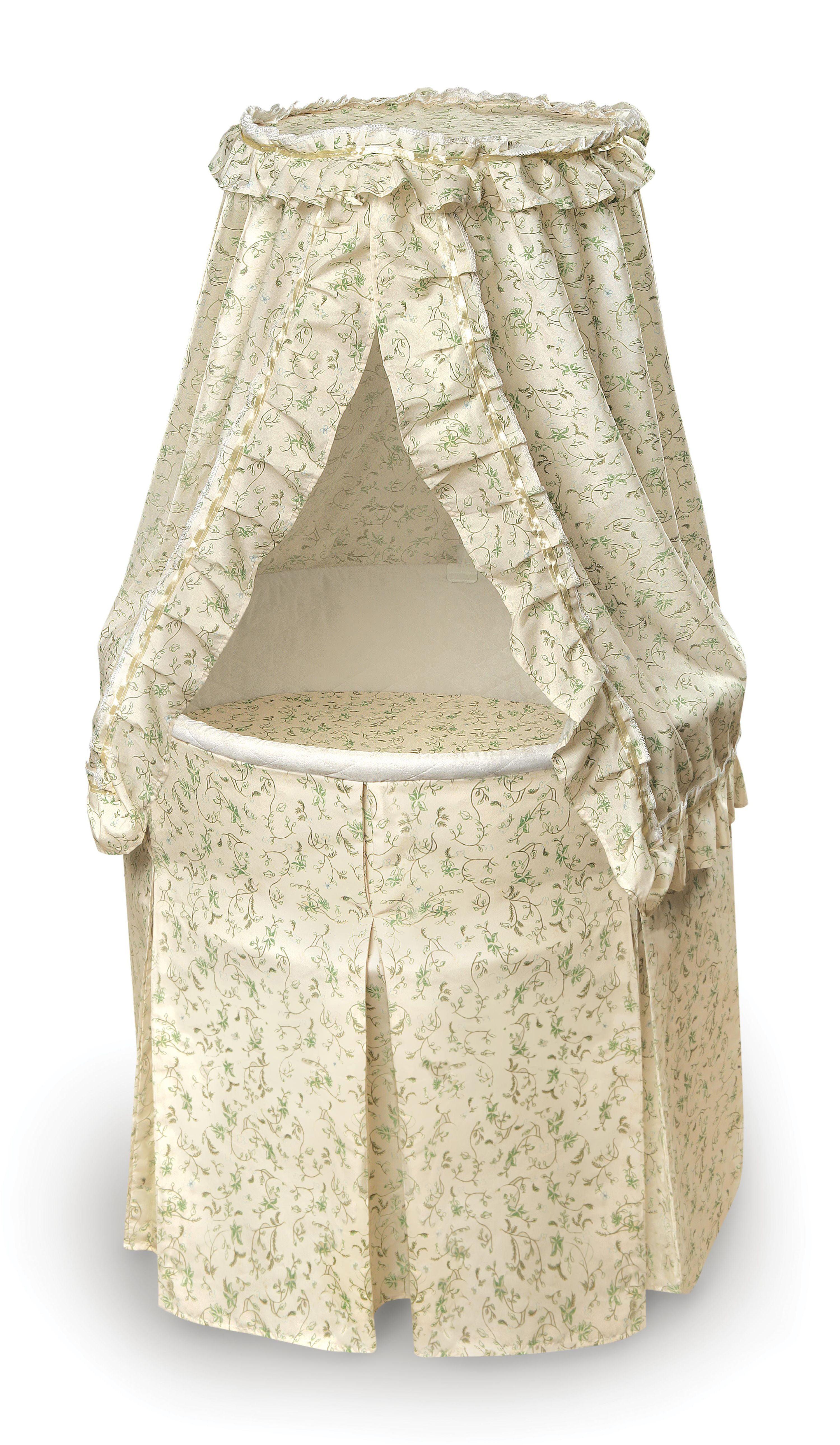 Badger Basket Empress Round Baby Bassinet Nursery Room Furniture Ecru Sage 83903 Ebay