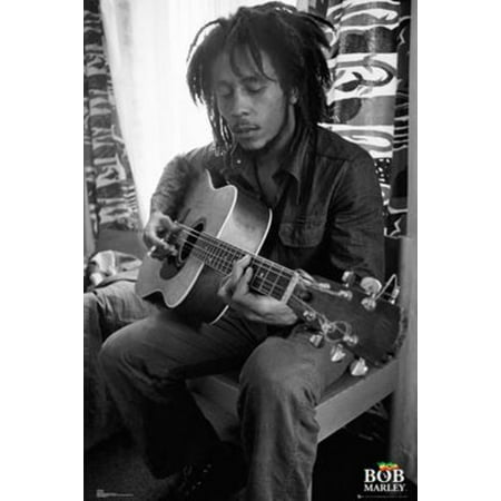 Bob Marley Playing Guitar Black and White Music Poster 24x36 inch