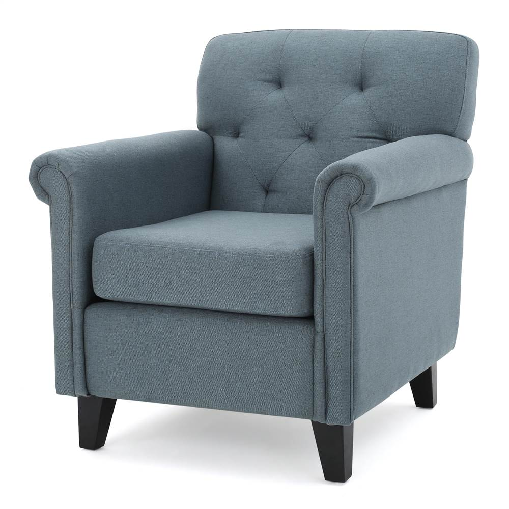 Upholstered Club Chair in Blue and Gray