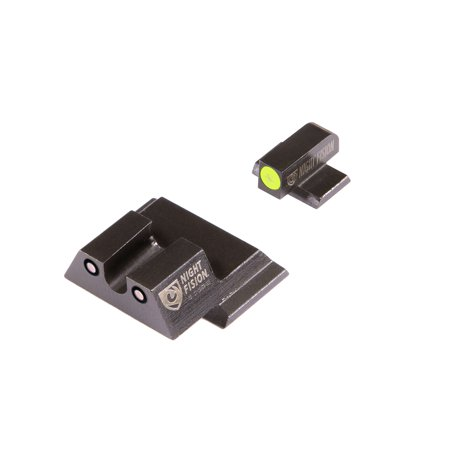 Night Fision SAW201007YGZ Night Sight Set Square Front/U-Notch Rear S&W M&P/SD9 VE/SD40 VE Green Tritium w/Yellow Outline