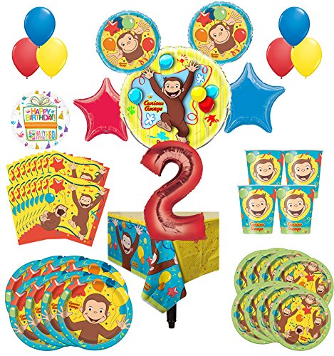 Curious George Party Supplies 8 Guest Kit 2nd Birthday Balloon Bouquet Decorations by