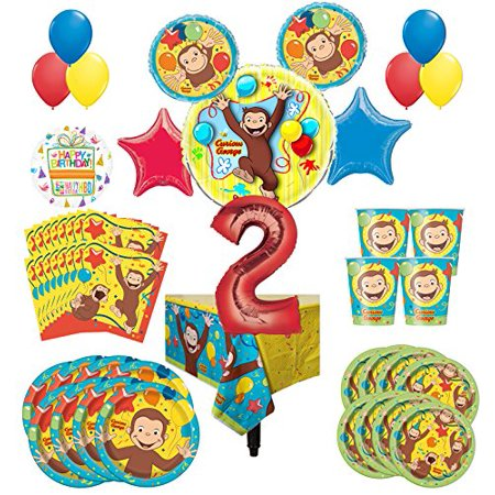 Curious George Party Supplies 8 Guest Kit 2nd Birthday Balloon Bouquet Decorations (Curious George Party Decorations)