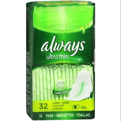 Always Ultra Thin with Flexi-Wings, Super Long 32 ea (Pack of 4)
