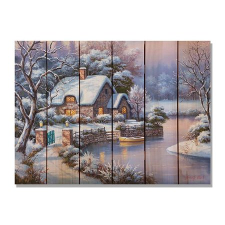 Day Dream HQ SKWC3324 33 x 24 in. Kims Winter Cottage Inside & Outside Cedar Wall Art - image 1 de 1