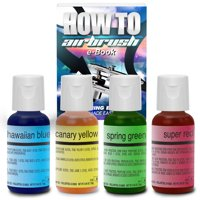 Chefmaster Cake Decorating Food Coloring Airbrush Paint Set - 4 Colors .64oz