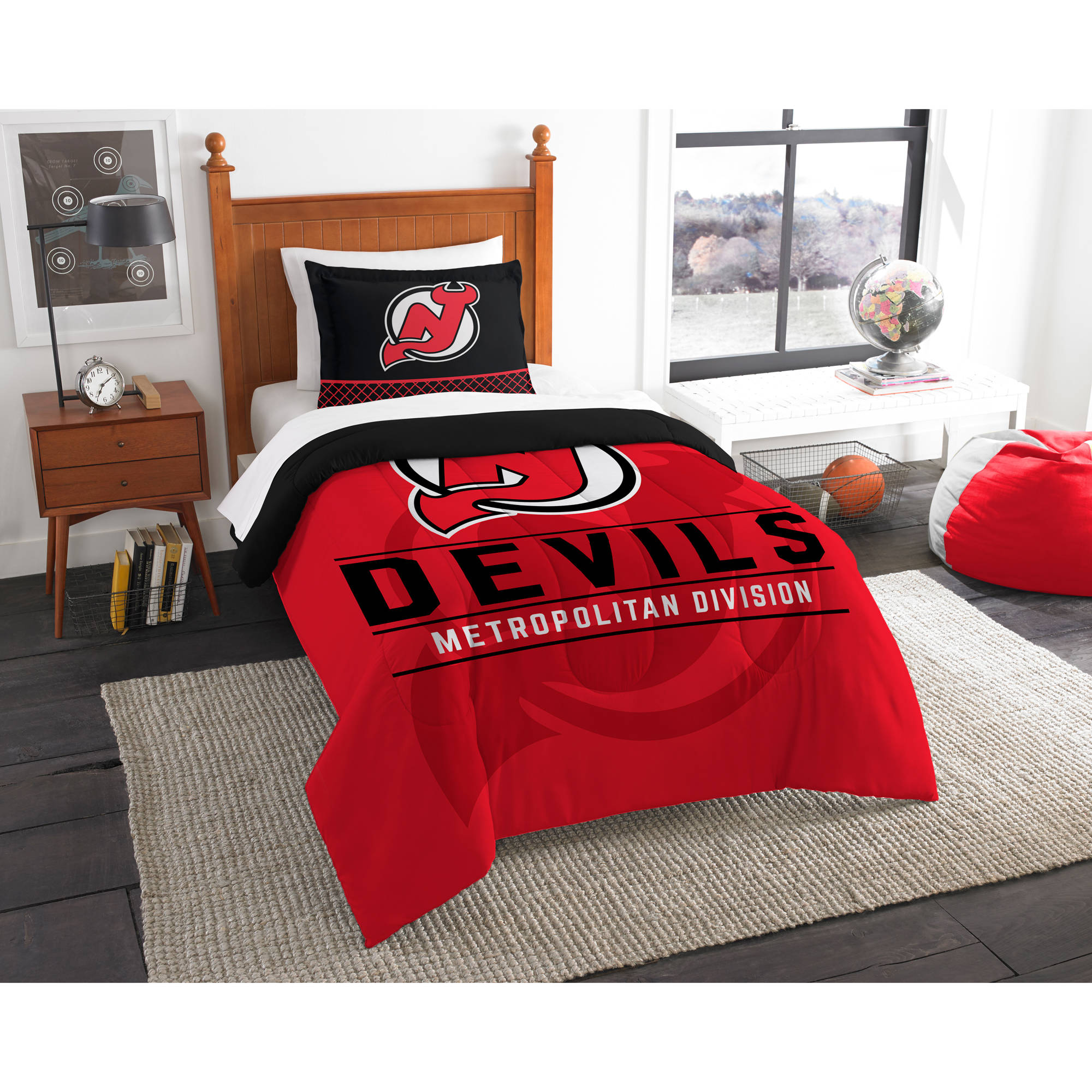 "NHL New Jersey Devils ""Draft"" Bedding Comforter Set"