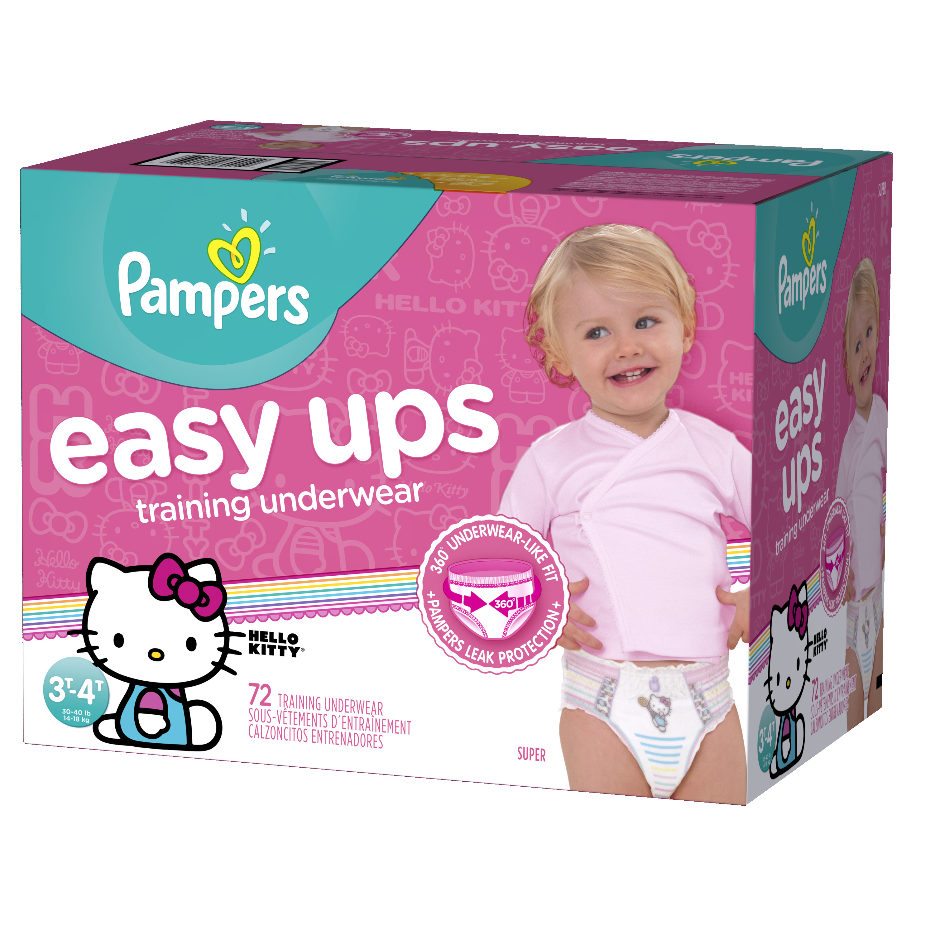 Pampers Easy Ups Training Underwear Girls Size 5 3T-4T 72 Count