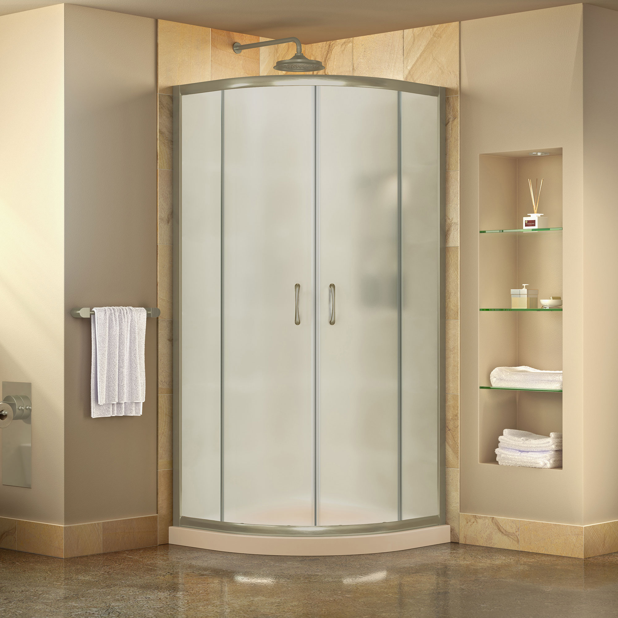 Dreamline Prime 36 In X 74 3 4 In Semi Frameless Frosted Glass Sliding Shower Enclosure In Brushed Nickel With Biscuit Base Kit